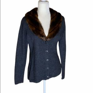 Lauren Ralph Lauren Angora fur collared Sweater